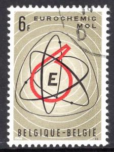 Belgium  #671  used  1966  atom symbol   retort   eurochemic plant at Mol