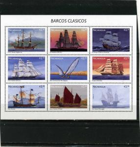 NICARAGUA 1996 Sc#2150 SAILING SHIPS SHEET OF 9 STAMPS  MNH