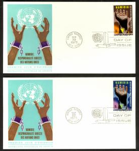 UN NY 1975 NAMIBIA SET Sc 263-264 on 2 U/A CACHET FDCs
