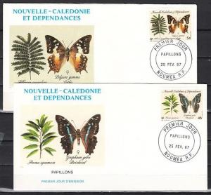 New Caledonia, Scott cat. 555-556. Butterflies issue on 2 First day covers.