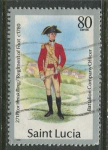 St. Lucia - Scott 878 - Military Uniforms -1987 - FU -Single 80c Stamp