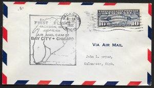 UNITED STATES #C7 on First Flight Cover 1928 Jackson to Kalamazoo