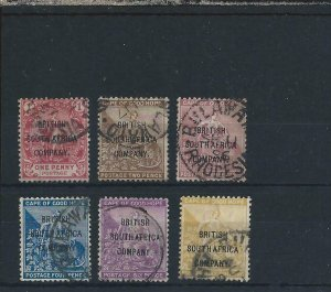 RHODESIA 1896 OVERPRINTED SET (NO ½d VALUE) G/FU SG 59/64 CAT £350