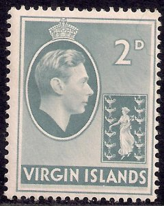 British Virgin Islands 1938 - 47 KGV1 2d Grey MM SG 113a ( E775 )