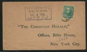 U.S. Scott #258 on 1895 Registered Cover Sent from Boston to New York City