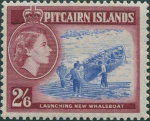 Pitcairn Islands 1957 SG28 2/6d Whaleboat MLH
