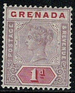 GRENADA QV 1895-99 1d MAUVE & CARMINE UNUSED (MH) SG49 Wmk.CrCA P.14 VGC