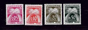 French Andorra J42-45 MH 1961 Postage Due set