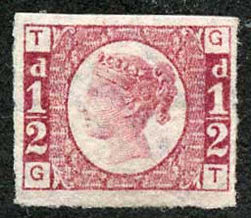 SG49a 1/2d (GT) Plate 1 IMPERF STUNNING COLOUR Superb Mint with BIG MARGINS
