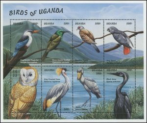 Uganda 1999 Sc 1615 Birds Owl Crane Kingfisher Heron Pigeon Parrot CV $9