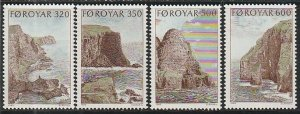 1989 Faroe Islands - Sc 197-200 - MNH VF - 4 single - Bird cliffs of Suduroy