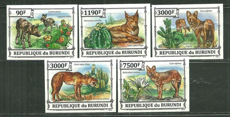 Burundi MNH Set Of 5 Dingoes Wild Dogs & Cacti 2013