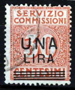 ITALY 1925 Una Lira Surcharge on 30c. Servizio Commissioni Mi #9 VFU