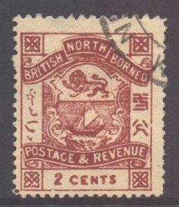 North Borneo Scott 37 - SG38, 1888 Arms 2c cds used