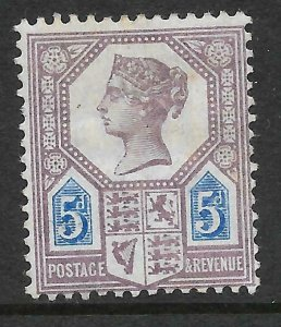 Sg 207aa K36a 5d Purple & Blue Jubilee with Watermark Inverted MOUNTED MINT