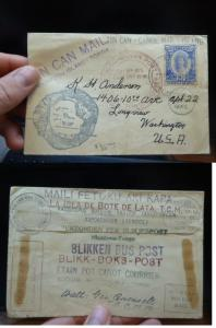 Tonga 2 1/2d Tin Can Canoe Mail to USA, tons of marks (18beq)