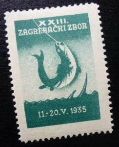 Yugoslavia Croatia Serbia Non Postal Poster Stamp fish fisher fishing animal  C3