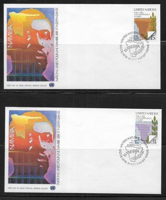 United Nations 312-13 Namiba Geneva Cachet FDC First Day Cover