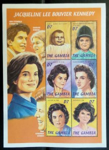 Gambia MNH S/S Jacqueline B. Kennedy 6 Stamps