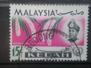 KEDAH, 1965, used 15c, Orchid Scott 111