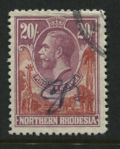 Northern Rhodesia KGV 1925 20/ used with a revenue cancel