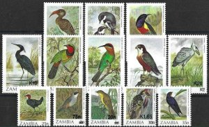 1987 Zambia Birds, Uccelli, Officials, Oiseaux, Overprints, 13 Values VF/MNH!