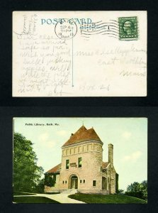 Picture Post Card of Bath Public Library from Bath, Maine dated 9-4-1913