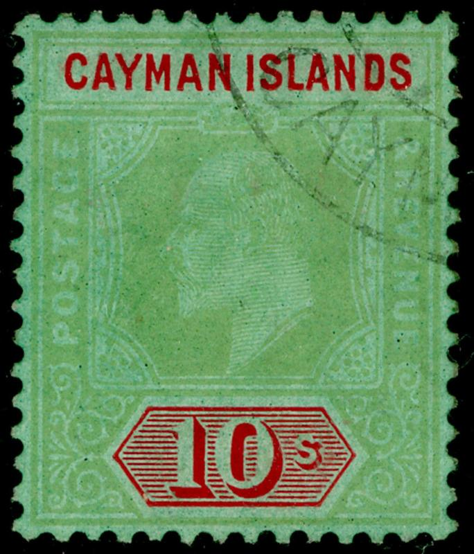CAYMAN ISLANDS SG34, 10s green & red/green, USED. Cat £250.