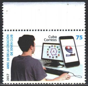 Cuba. 2017. 6286. 30th anniversary of the youth club Joven, computer. MNH.