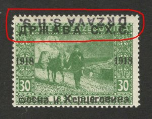 BOSNIA - SHS -MNH STAMP, 30 h - ERROR -TETE BECHE OVERPEINT DRŽAVA S.H.S.-1918