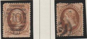 U.S. Scott #187-188 Jefferson Stamp - Used Set of 2