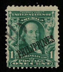 1903-1904, 1 cent, Franklin, Overprinted PHILIPPINES, USA, SC #226 (Т-9532)