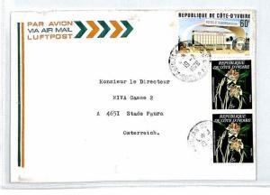 IVORY COAST Cover 1978 Missionary Air Mail MIVA Austria FLOWERS CIDEX CM283