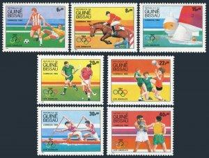 Guinea Bissau 571-577,578 sheet,MNH. Olympics,Los Angeles-1984.Soccer,Dressage,