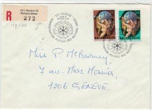 Geneva United Nations 1974 Registered stamps cover ref 21703