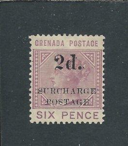 GRENADA POSTAGE DUE 1892 2d on 6d MAUVE MM SG D6 CAT £200