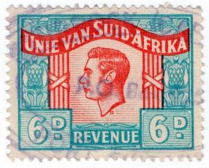 (I.B) South Africa Revenue : Duty Stamp 6d (Language Error)