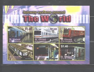 ST. VINCENT & THE GRENADINES 2004  TRAINS MS.#3434  MNH