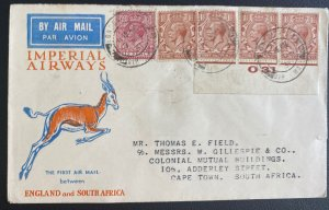 1931 London England First Flight Airmail Cover To Cape Town South Africa Imperia