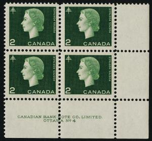 Canada 402 BR Block Plate 4 MNH Queen Elizabeth, Cameo