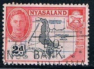 Nyasaland Protectorate 71, 2p Map and Coat of Arms, used, VF