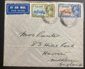 1936 Tanga Tanganyika British KUT Airmail Cover To Harrow England