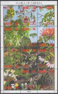 1993 Liberia 1552-1563KL Flowers 34,00 €