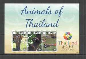 Z0835 2013 GAMBIA FAUNA WILD ANIMALS OF THAILAND #3524-6 KB MNH
