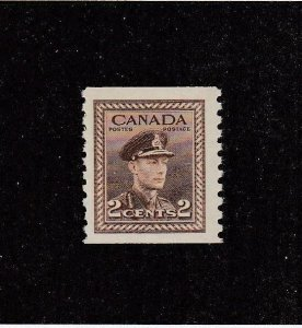 CANADA (MK2855) # 279 VF-MNH 2cts  KGVI WAR ISSUE COIL /BROWN  CAT VALUE $30