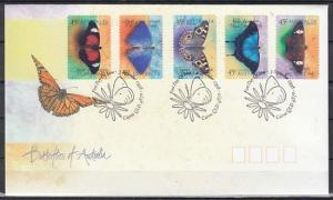 Australia, Scott cat. 1695-1699. Butterflies Self-Adhesive. First day cover. ^