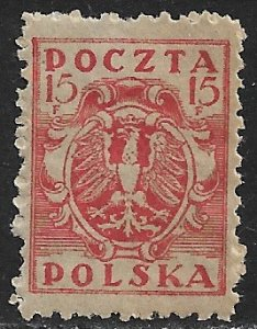 POLAND 1919-20 15f Polish Eagle Perf.11 1/2 For Northern Poland Issue Sc 98 MH