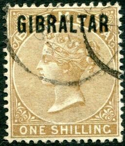 GIBRALTAR-1886 1/- Yellow-Brown Sg 7 GOOD USED V29712
