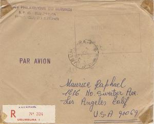 Ruanda Urundi Official Free Mail 1963 Usumbura Registered Airmail to Los Ange...