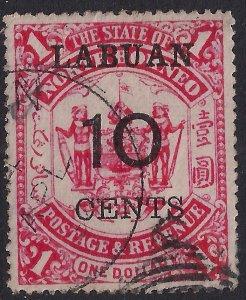Labuan North Borneo 1895  QV 10ct ovpt on $1 Scarlet used SG 76 ( J616 )